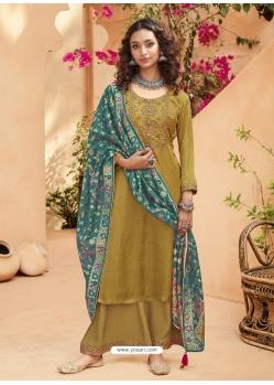 Mustard Heavy Designer Wedding Pure Kuntal Silk Salwar Suit