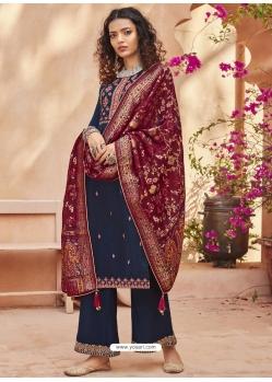 Teal Blue Heavy Designer Wedding Pure Kuntal Silk Salwar Suit