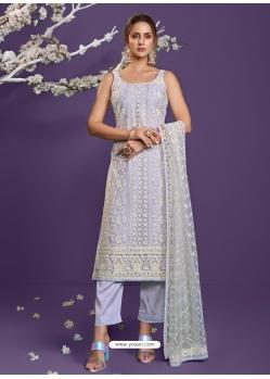 Light Grey Heavy Designer Wedding Net Salwar Suit