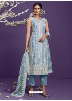 Aqua Grey Heavy Designer Wedding Net Salwar Suit