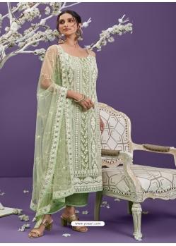 Pista Green Heavy Designer Wedding Net Salwar Suit