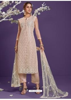 Light Beige Heavy Designer Wedding Net Salwar Suit
