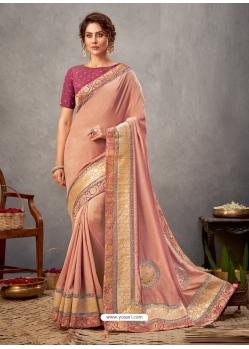 Light Orange Designer Wedding Wear Silk Sari