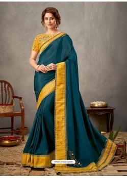 Teal Blue Designer Wedding Wear Silk Sari