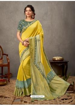 Lemon Designer Wedding Wear Silk Sari