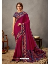 Rose Red Designer Wedding Wear Silk Sari