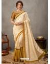 Off White Designer Wedding Wear Silk Sari