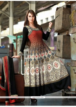 Red Cotton Resham Anarkali Suits