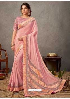 Pink Designer Wedding Wear Silk Sari
