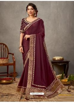 Maroon Designer Wedding Wear Silk Sari