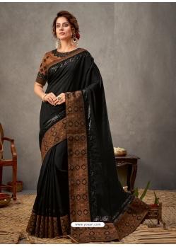 Black Designer Wedding Wear Silk Sari