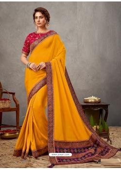 Yellow Designer Wedding Wear Silk Sari