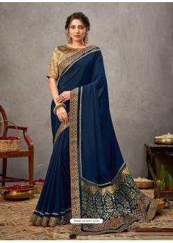 Navy Blue Designer Wedding Wear Silk Sari