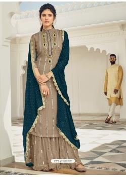 Beige Heavy Designer Wedding Faux Georgette Salwar Suit