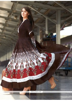 Modern Brown Cotton Anarkali Salwar Suit