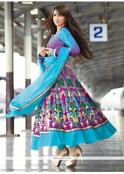 Magnetic Blue Cotton Resham Anarkali Suits