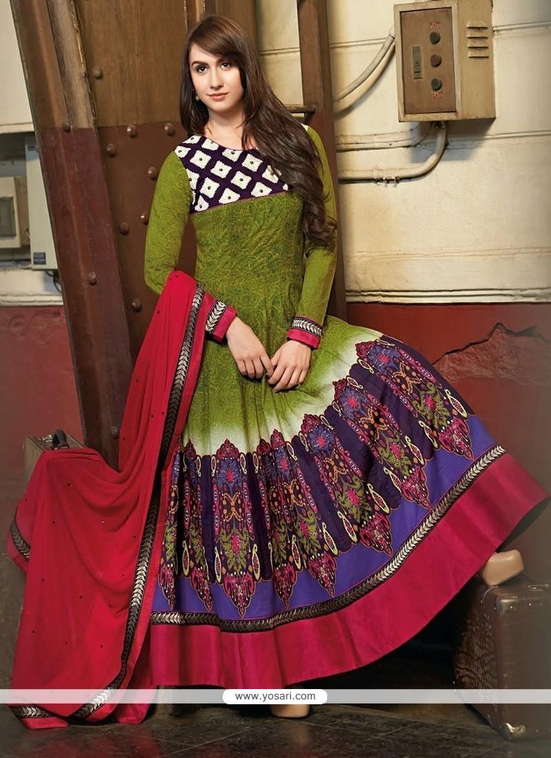 Genius Green Cotton Anarkali Suits