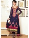 Blue Pure Georgette Churidar Salwar Kameez