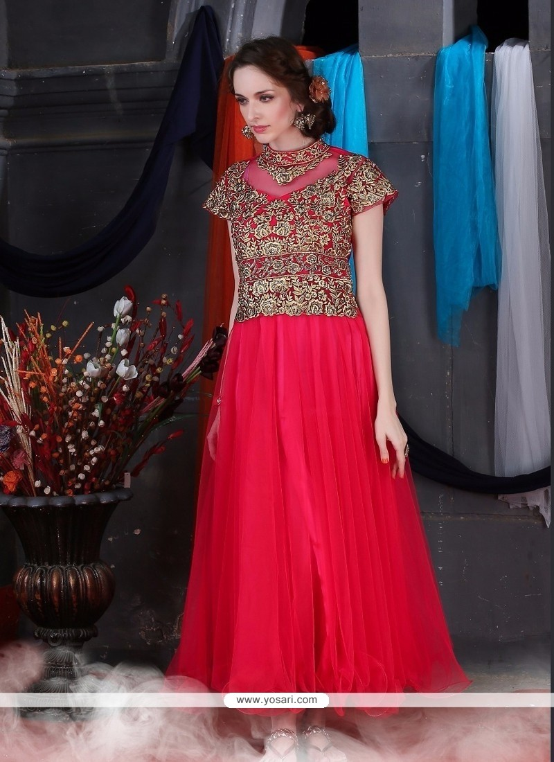 Shop online Dashing Net Hot Pink Designer Gown
