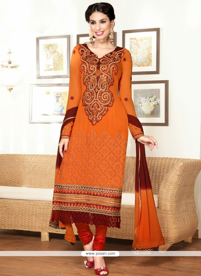Orange Embroidered Pure Georgette Churidar Suit