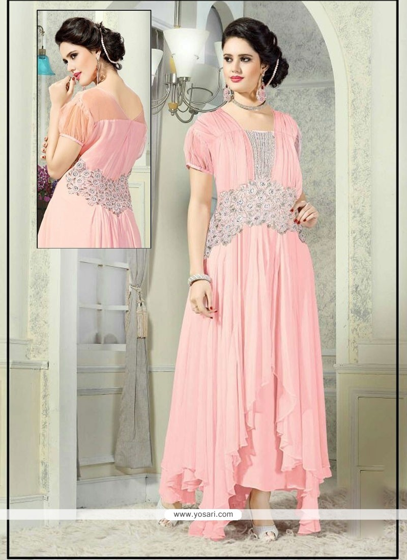 8d4122c6d2 Shop online Honourable Pink Net Embroidered Work Designer Gown