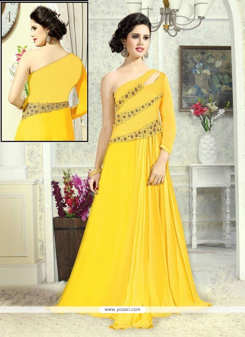 2ffc317718 Shop online Charming Embroidered Work Net Floor Length Gown