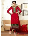 Groovy Red Pure Georgette Churidar Suit