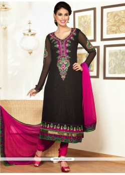 Groovy Black Pure Georgette Churidar Salwar Suit