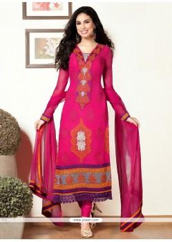 Hot Pink Resham Churidar Salwar Kameez