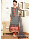 Lustrous Grey Pure Georgette Churidar Salwar Suit