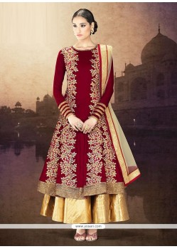 Blooming Maroon Embroidery Work Anarkali Suits