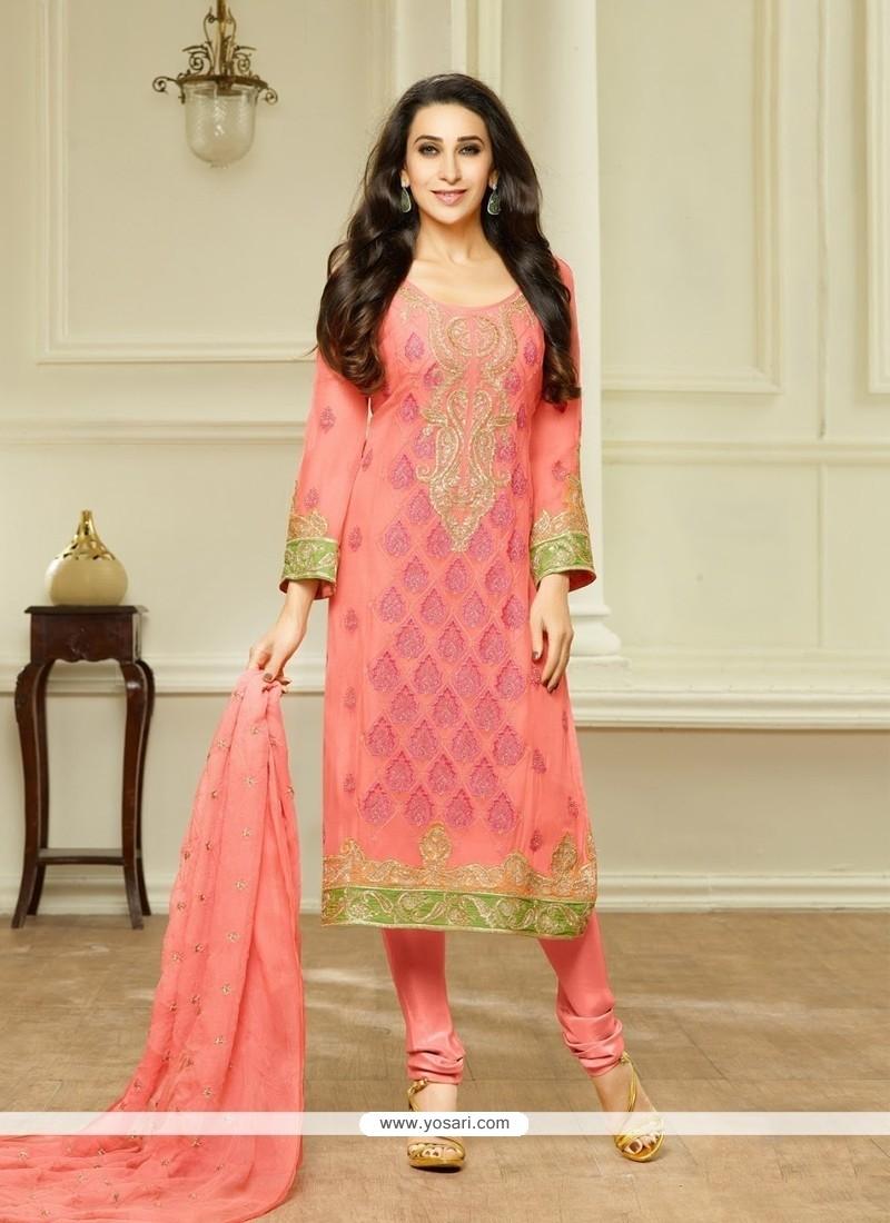 2ae25994a4 Shop online Karishma Kapoor Peach Churidar Designer Suit