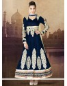 Navy Blue Pure Velvet Designer Anarkali Suits