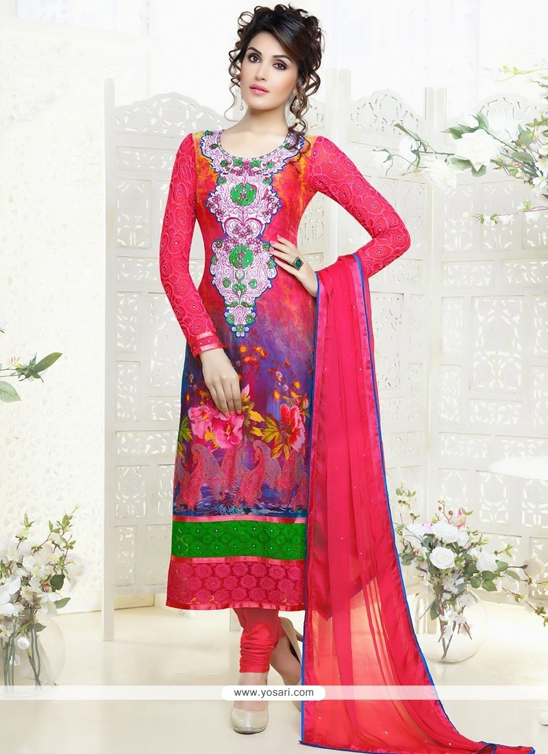 Modern Pink Embroidery Work Churidar Salwar Suit