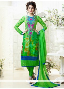 Magnetic Green Printed Churidar Suit