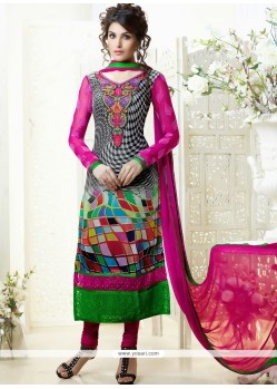 Lustrous Black Printed Churidar Salwar Suit