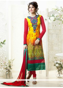 Dazzling Yellow Printed Churidar Salwar Suit