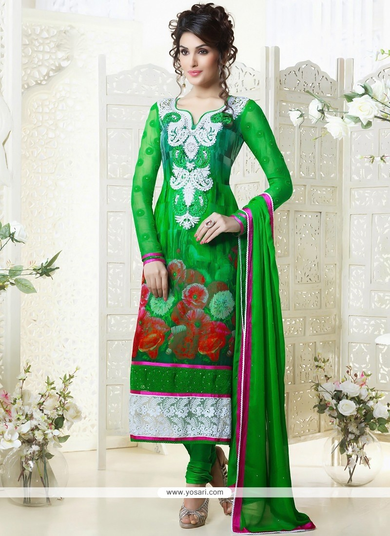 Fabulose Green Georgette Churidar Suit