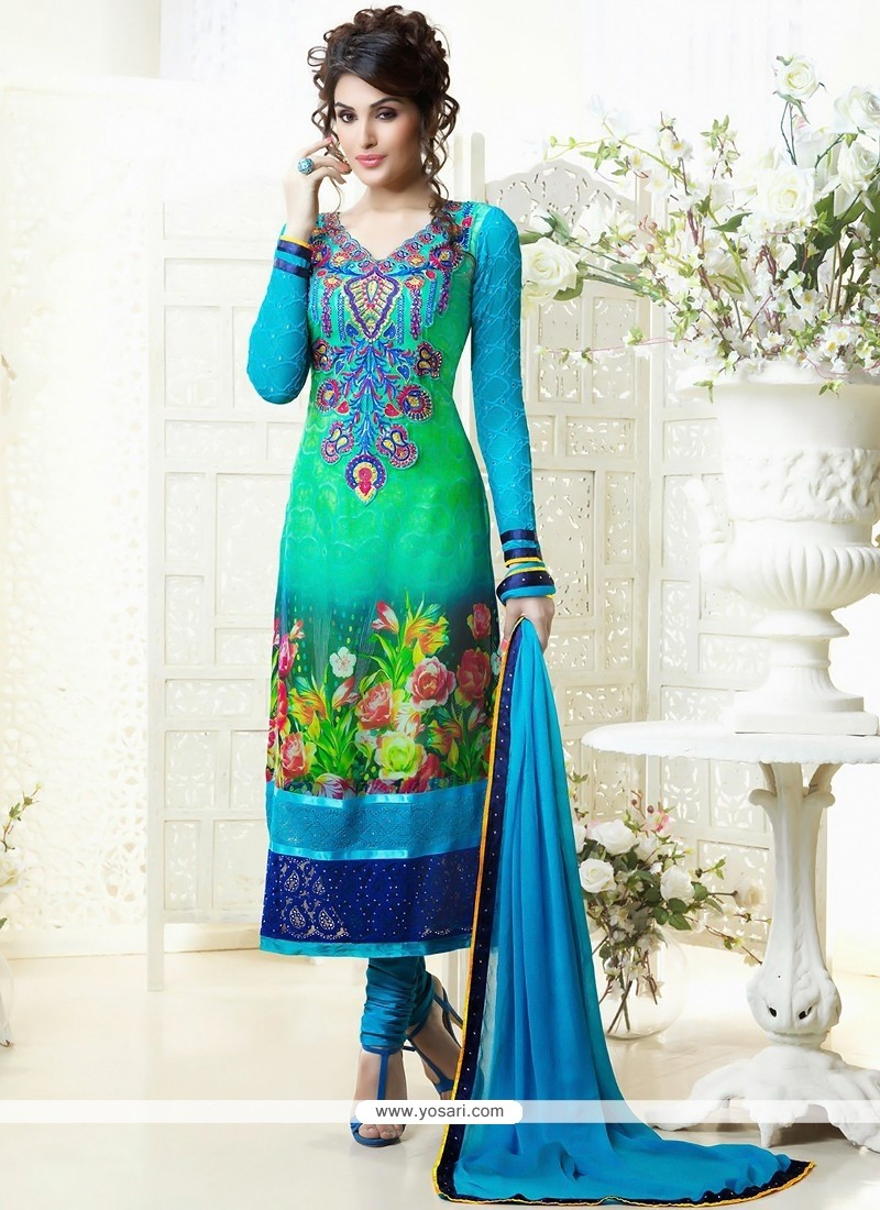 Genius Green And Blue Printed Churidar Suit