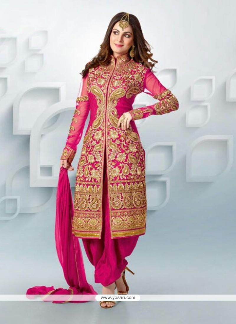 Magenta Zari Georgette Punjabi Suit