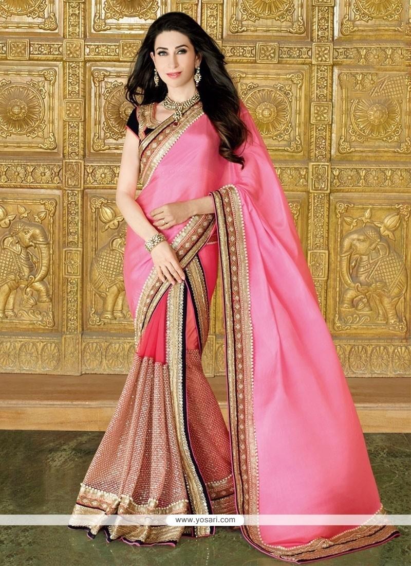 543c86c5d3f67c Shop online Karishma Kapoor Pink Patch Border Work Designer Saree