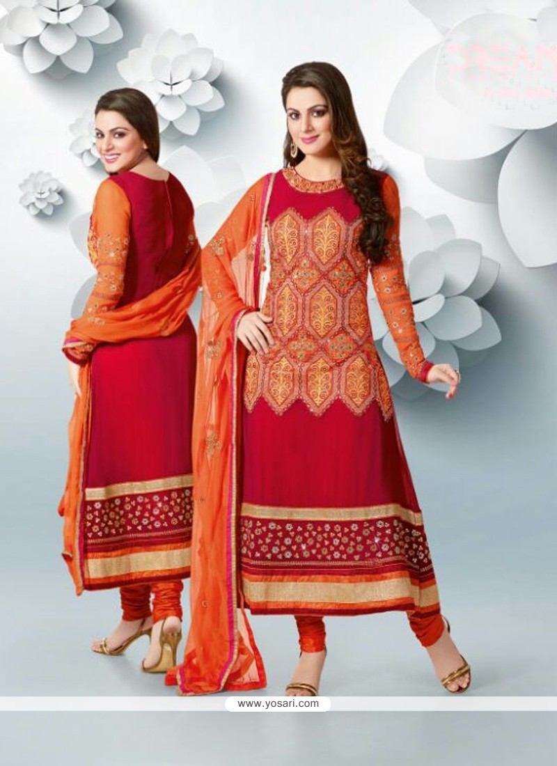 Epitome Red Faux Georgette Designer Anarkali Suits