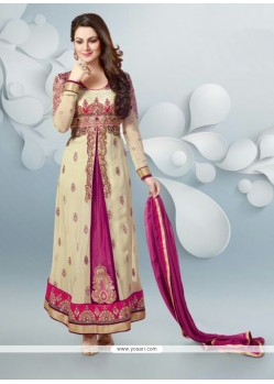 Magenta And Cream Embroidery Work Anarkali Suits