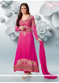 Decent Pink Georgette Anarkali Salwar Suit
