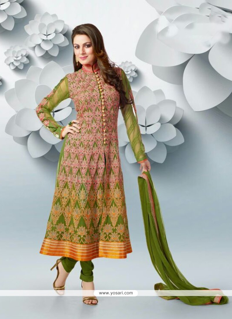 Charismatic Green Embroidery Work Anarkali Suits