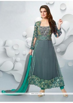 Blooming Grey Georgette Designer Anarkali Suits