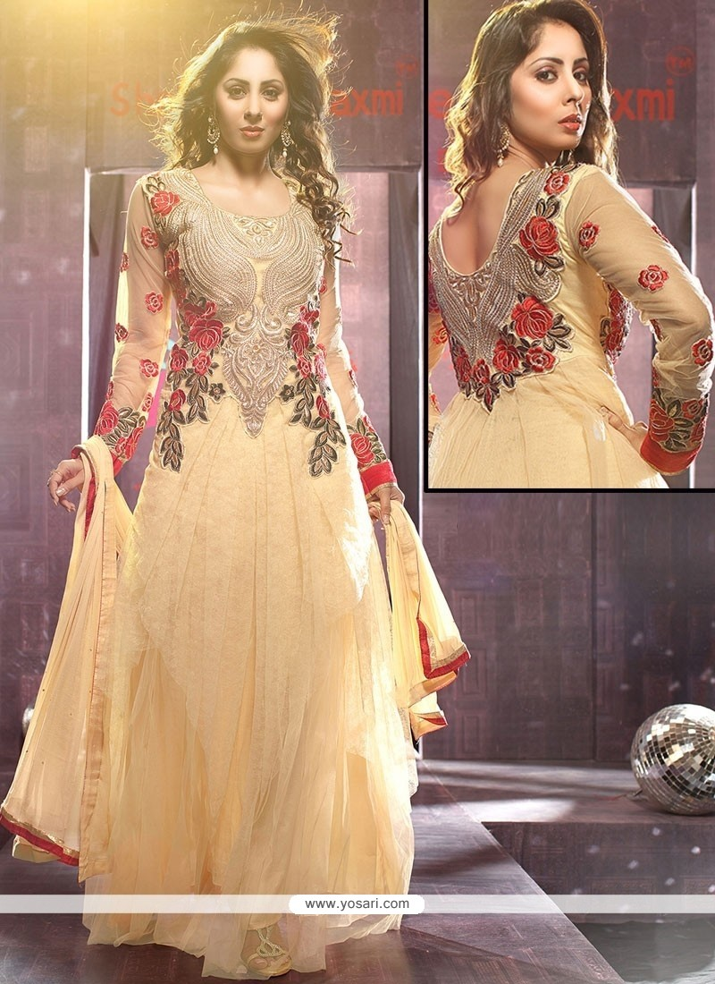 Radiant Cream Net Floor Length Anarkali Suits