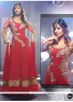 Red Zari Net Floor Length Anarkali Suits