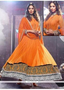 Opulent Orange Net Floor Length Anarkali Suits