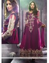 Opulent Wine Net Floor Length Anarkali Suits